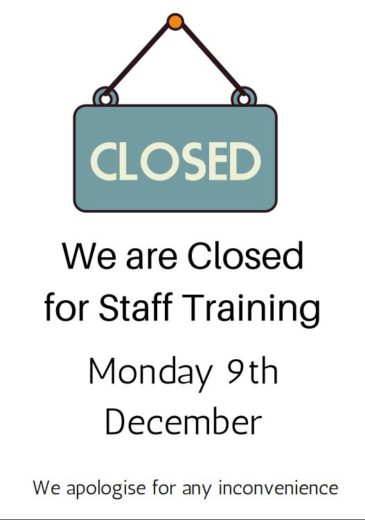 Studies Will Be Closed Monday 9th December