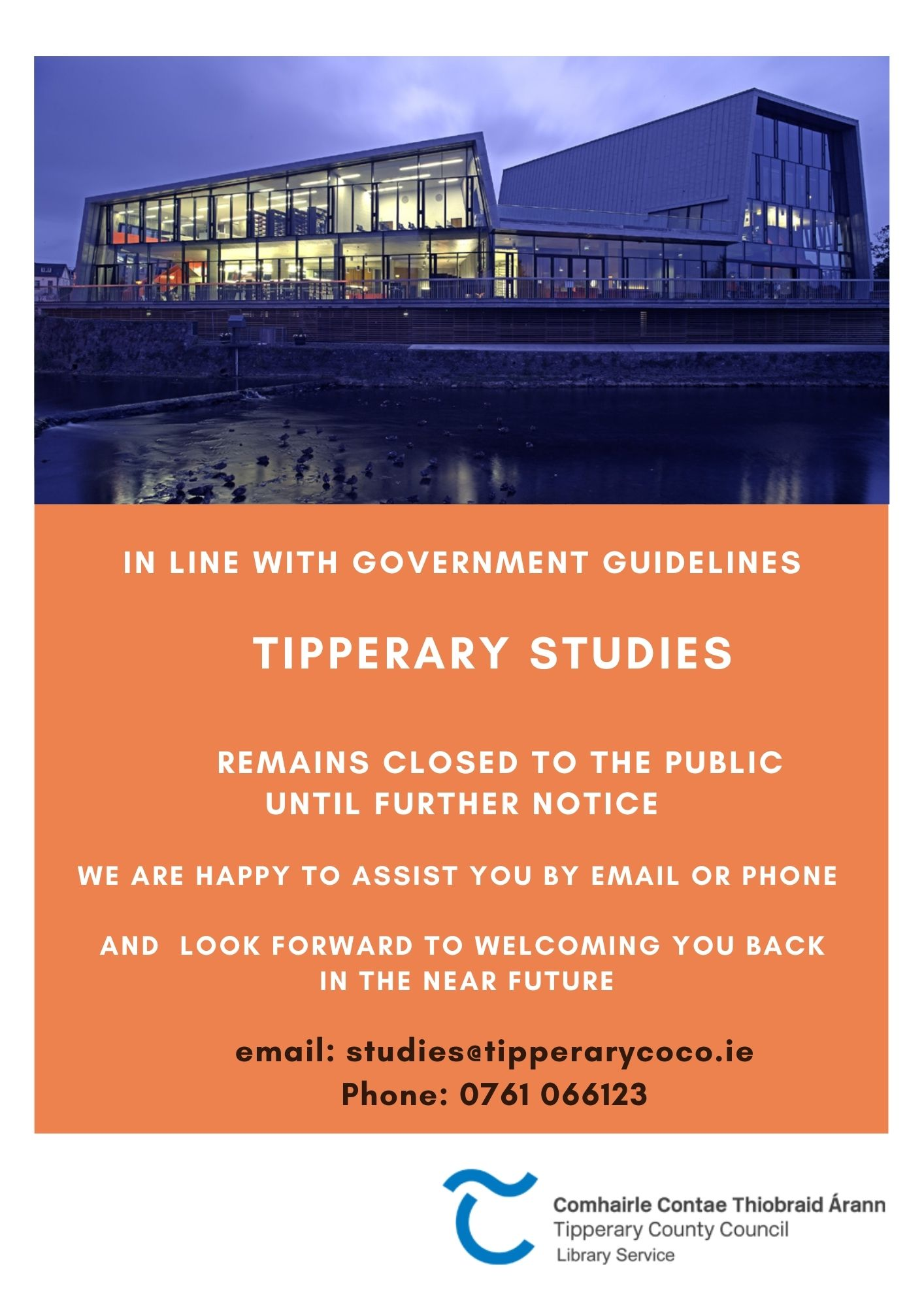 Monday 10th May – Studies Remains Closed To Public